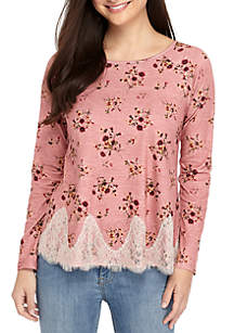 Long Sleeve Floral Lace Hem Top