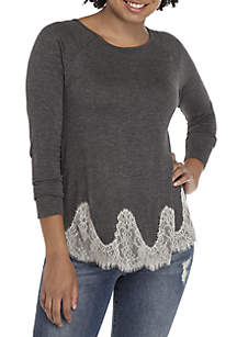 Long Sleeve Lace Hem Swing Top