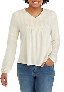 Long Sleeve V-Neck Crochet Yoke Babydoll Top