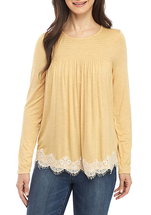 Jolt Long Sleeve Smocked Yoke Lace Hem Top