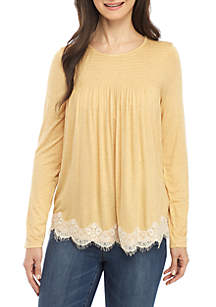 Long Sleeve Smocked Yoke Lace Hem Top