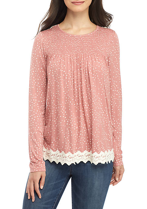 Jolt Long Sleeve Smocked Lace Print Top