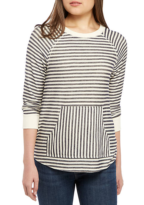 Juniors Kangaroo Pocket Stripe Sweatshirt