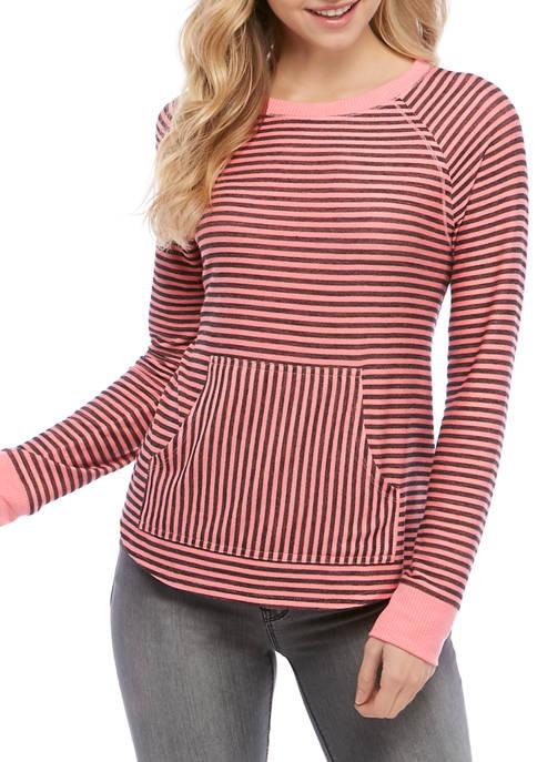 Jolt Juniors Kangaroo Pocket Stripe Sweatshirt