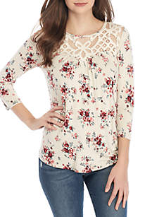 3/4 Sleeve Crochet Neck Floral Knit Top