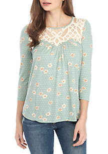 3/4 Sleeve Crochet Neck Printed Knit Top