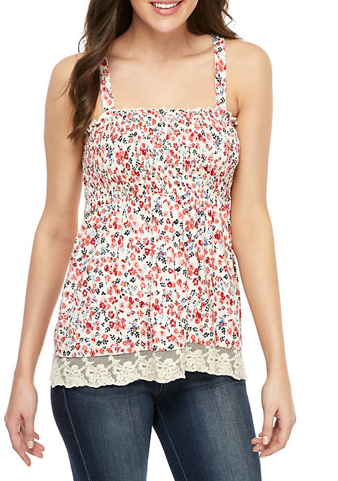 Jolt Smocked Tank Top with Crochet Hem