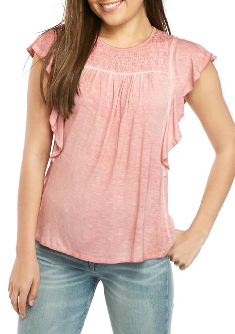 Jolt Juniors Short Flutter Sleeve Smocked T-Shirt