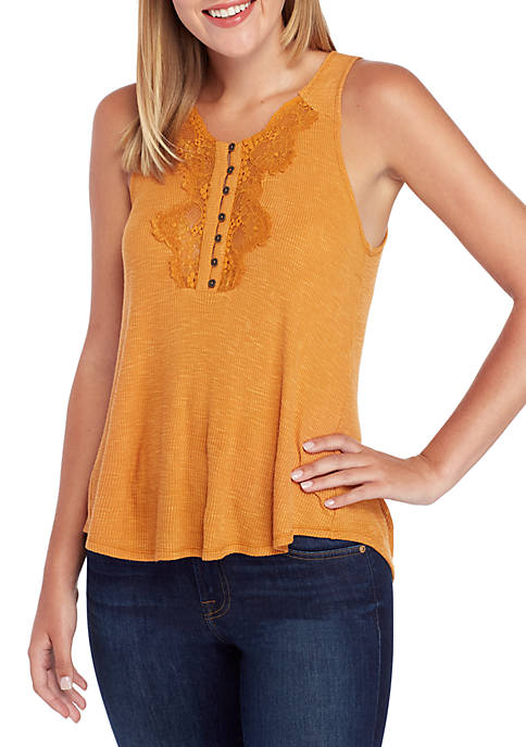 Jolt Sleeveless Rib Button Lace Tank
