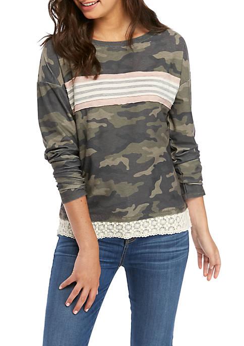 Jolt Juniors Long Sleeve Lace Hem Sweatshirt