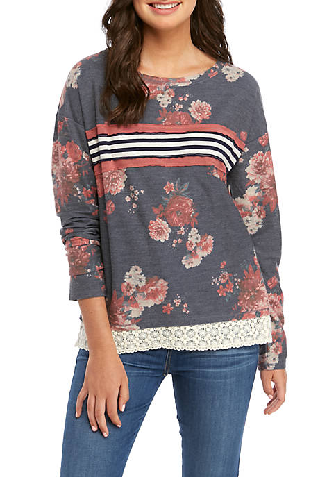 Jolt Juniors Long Sleeve Lace Hem Sweatshirt