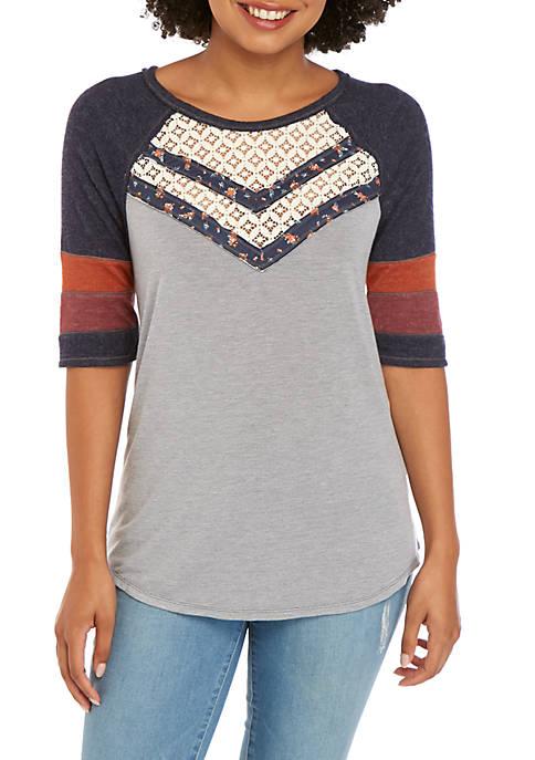 Short Sleeve Baseball Crochet Front Tie Top