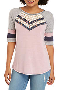 Jolt Short Sleeve Baseball Crochet Front Tie Top