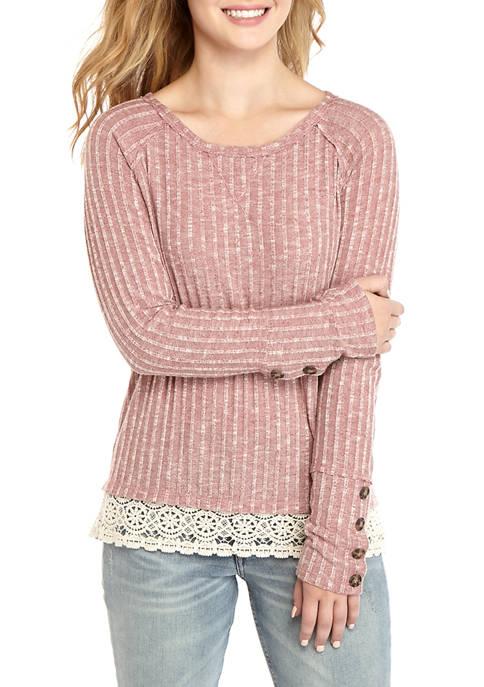 Long Sleeve Lace Hem Top