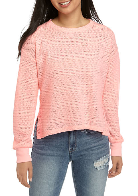 Juniors Pointelle Sweatshirt