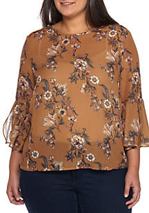 Floral Print Lattice Back Bell Sleeve Top