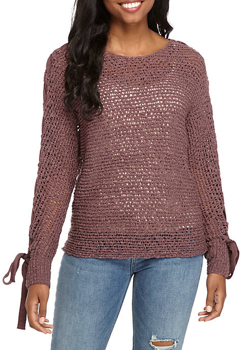 Open Stitch Lace-Up Arm Sweater