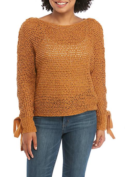 Jolt Lace Up Tie Sleeve Sweater