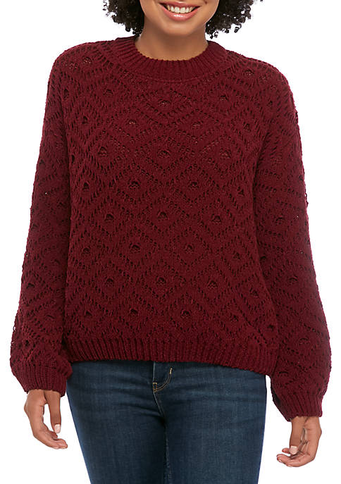 Jolt Juniors Bubble Sleeve Cable Knit Chenille Sweater