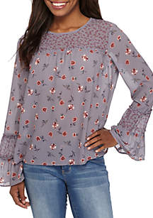Long Sleeve Twin Print Peasant Top