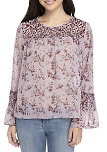 Long Sleeve Floral Peasant Top