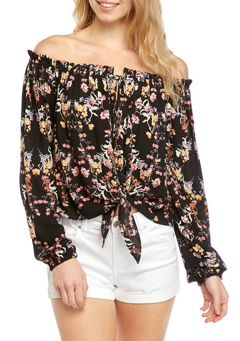 Jolt Juniors Off the Shoulder Tie Front Top