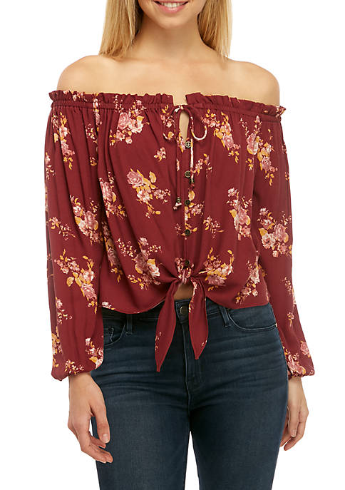 Long Sleeve Off the Shoulder Tie Front Woven Top