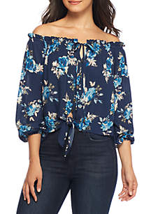 Off-The-Shoulder Floral Tie Front Top