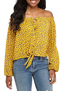 Off-The-Shoulder Knot Front Button Down Top