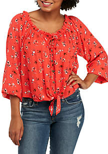 Off-the-Shoulder Knot Front Button Down Shirt