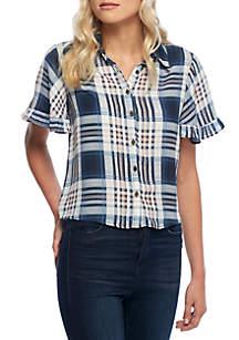 Button Down Ruffle Camp Shirt