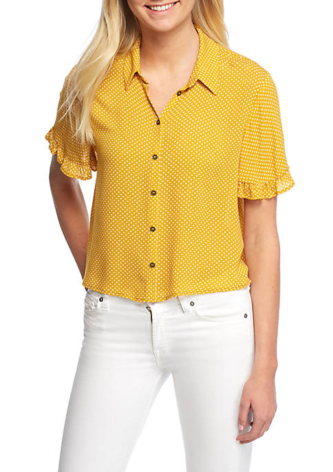 Jolt Button Down Ruffle Camp Shirt