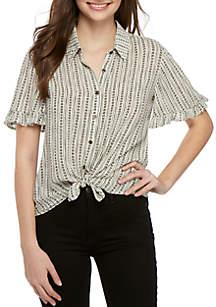 Jolt Short Ruffle Sleeve Tie Camp Shirt
