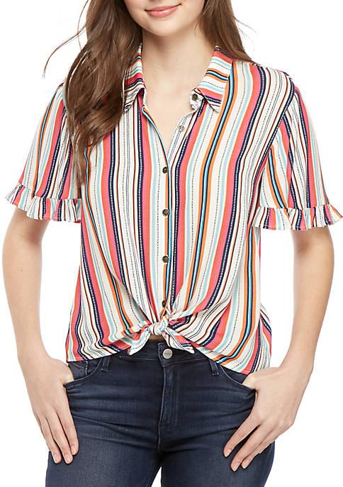 Jolt Short Ruffle Sleeve Tie Front Camp Shirt
