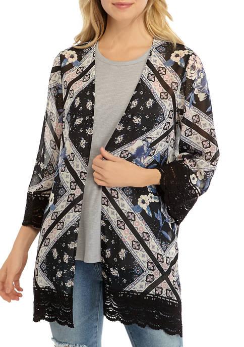 Juniors Crochet Hem Kimono