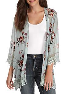 Lace Hem Floral Print Kimono