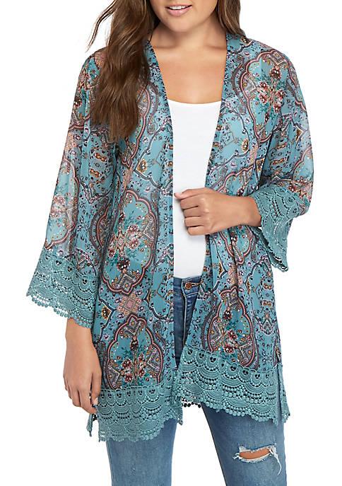 Jolt Crochet Hem Kimono
