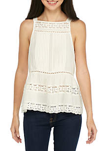 Seamed Lace Trim Tank