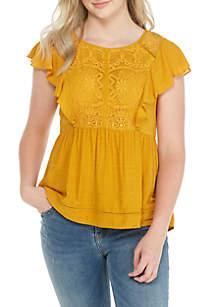 Flounce Lace Yoke Knit Top