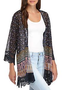 Lace Hem Border Print Kimono