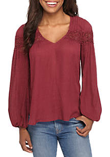 Solid V-Neck Top With Crochet Yoke