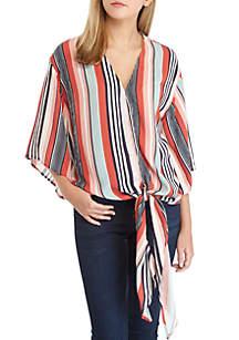 Printed Kimono Sleeve Tie Front Top
