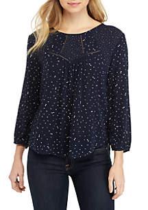 3/4 Blouson Sleeve Dot Print Woven Top