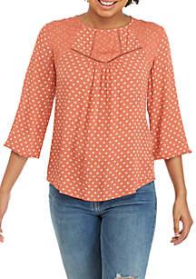 3/4 Blouson Sleeve Mixed Print Woven Top