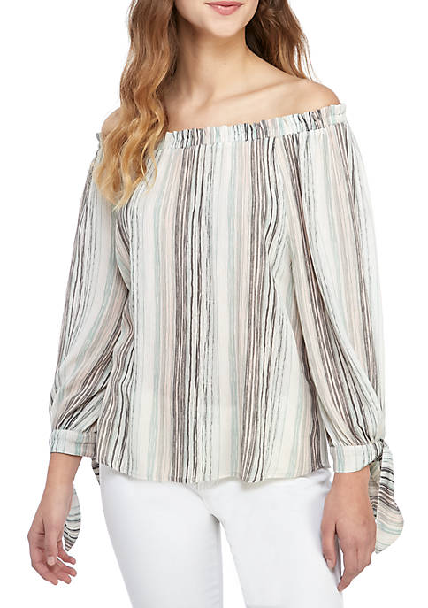 Jolt Long Tie Sleeve Off The Shoulder Stripe
