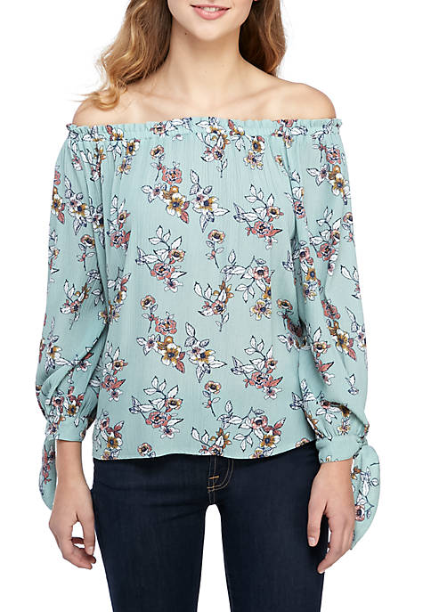Jolt Long Tie Sleeve Off The Shoulder Top
