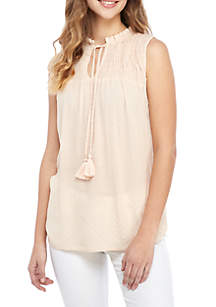 Jolt Sleeveless Smocked Peasant Top with Tassels