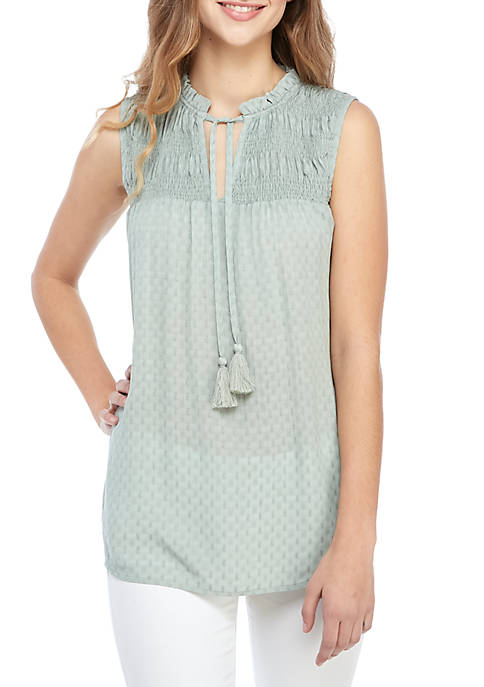 Sleeveless Smocked Peasant Top with Tassels