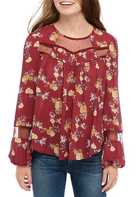 Juniors Long Sleeve Printed Woven Blouse