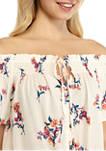 Juniors Flutter Sleeve Off the Shoulder Tie Front Top